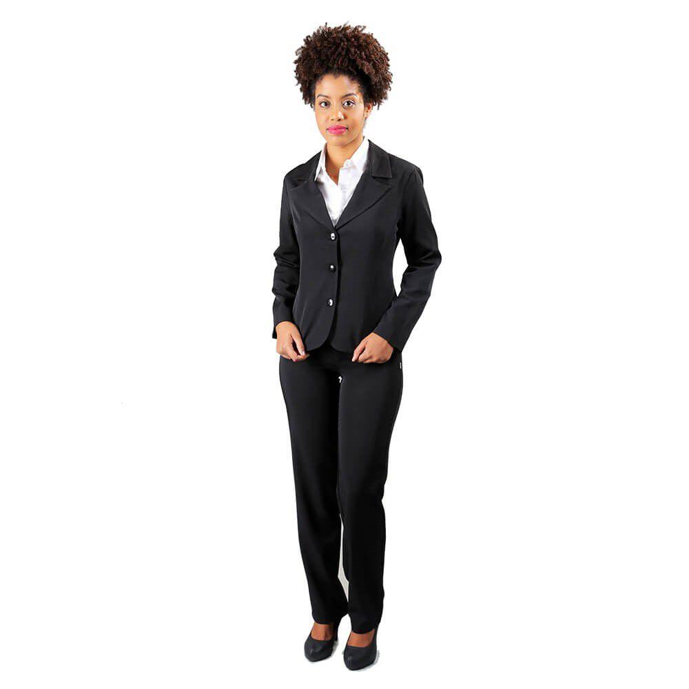 Terninho social preto e marinho com blazer forrado corte de alfaiataria  Blanco Raro