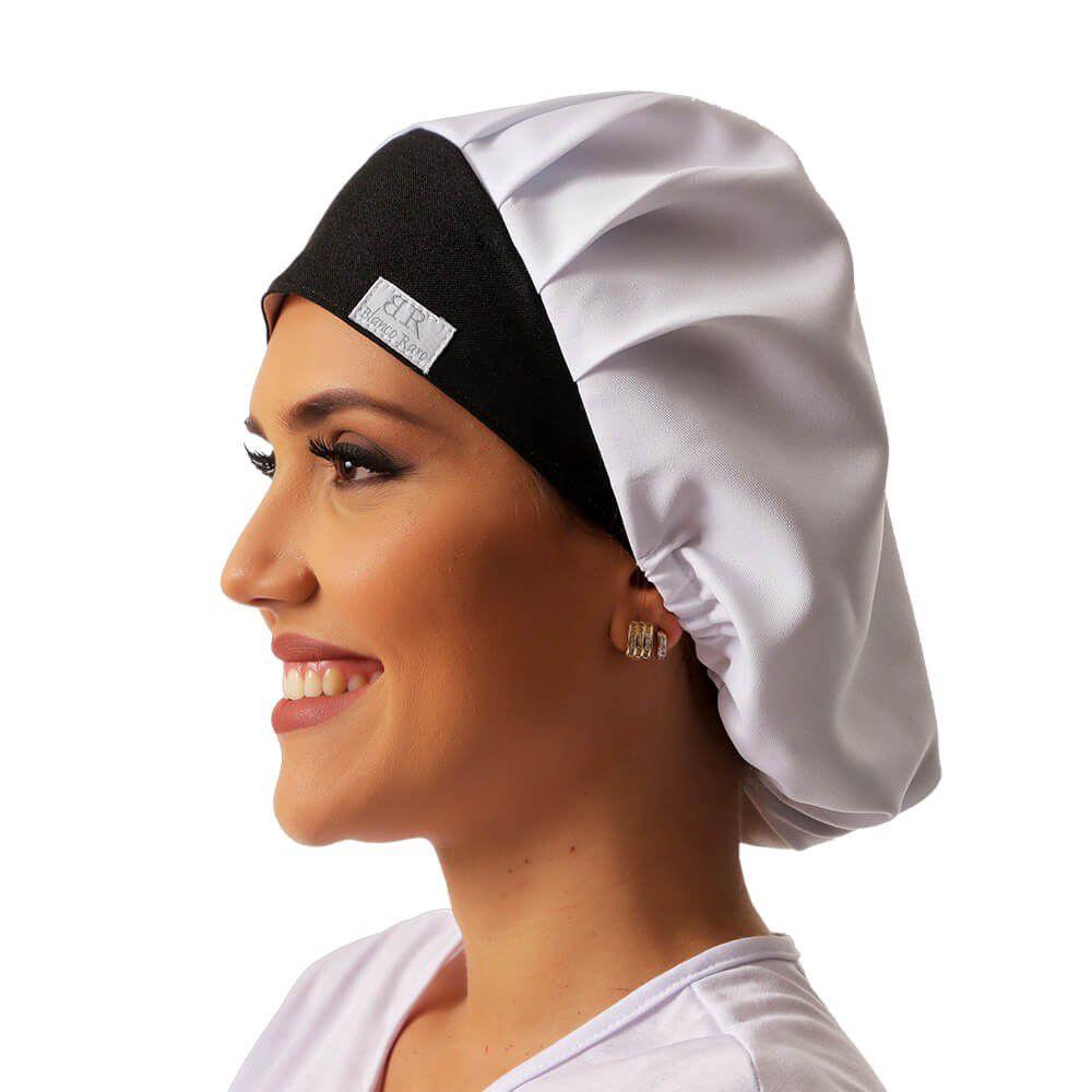Touca branca em gabardine detalhe em estampa de corujinha Blanco Raro
