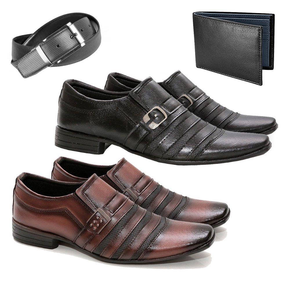 283369f013 Kit 2 Pares Sapato Social Masculino + Cinto + Carteira - Calçados Mig