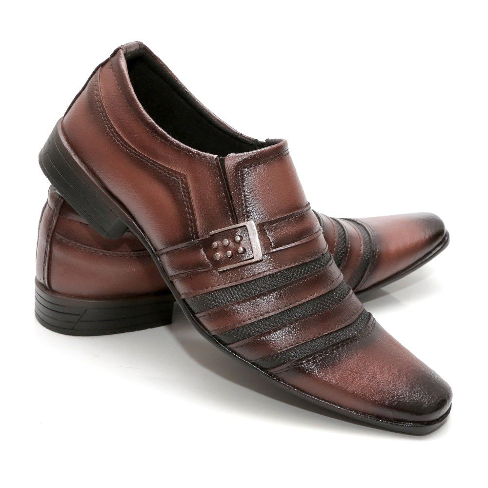 619a2d4245 Kit 2 Pares Sapato Social Masculino Couro Ecológico - Calçados Mig