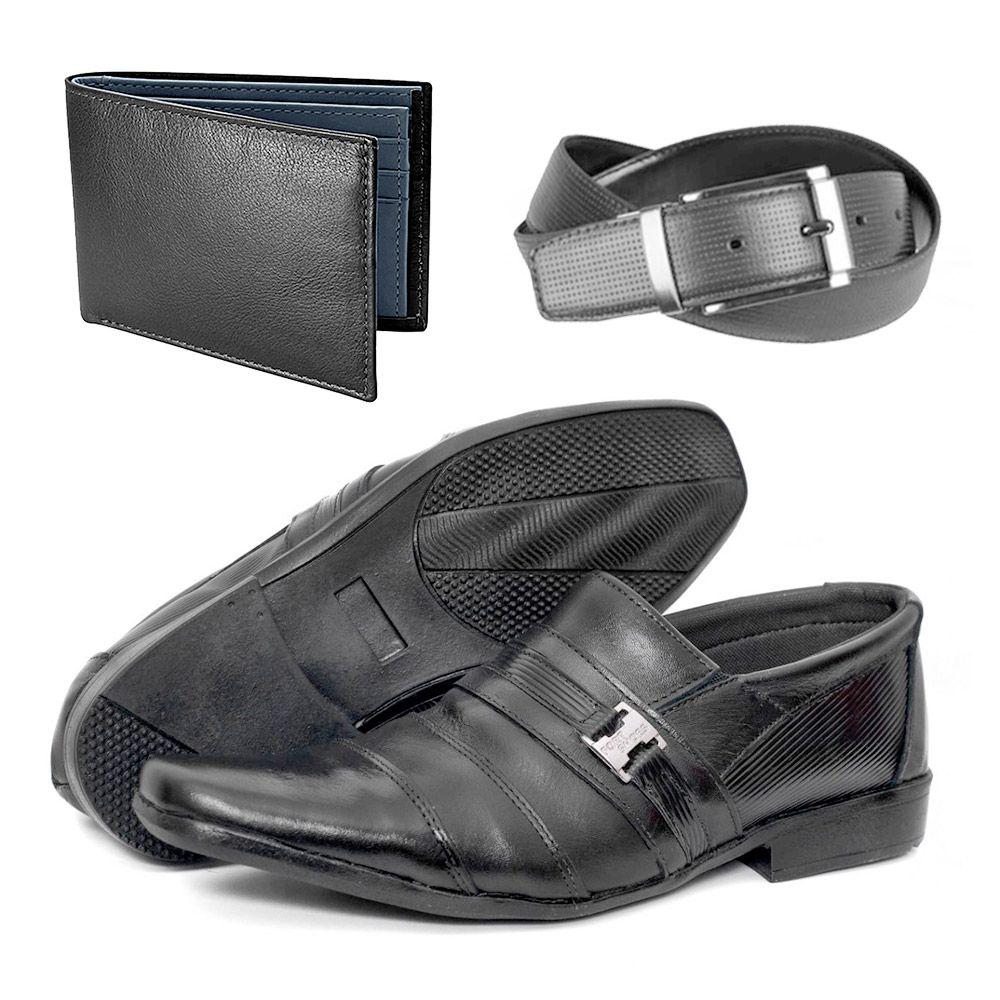 ccbe9242f4 Kit Sapatos Social Masculino Couro Legítimo Cinto + Carteira ...