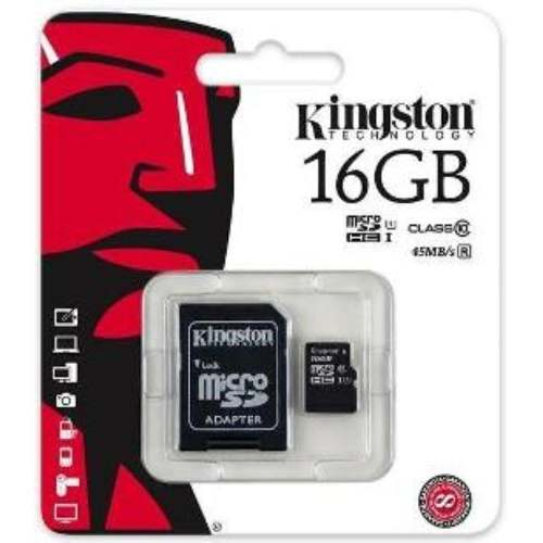 Cartão Mem Micro Sd Kingston 16gb + 1 Adpt. Class 4