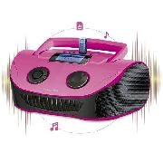 Som Multilaser Boombox Rosa 15w Rms Usb/p2/fm/cartã