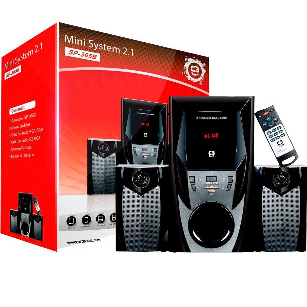 Caixa de Som C3 Tech 2.1 Bluetooth 44W RMS Preta - SP-365BK