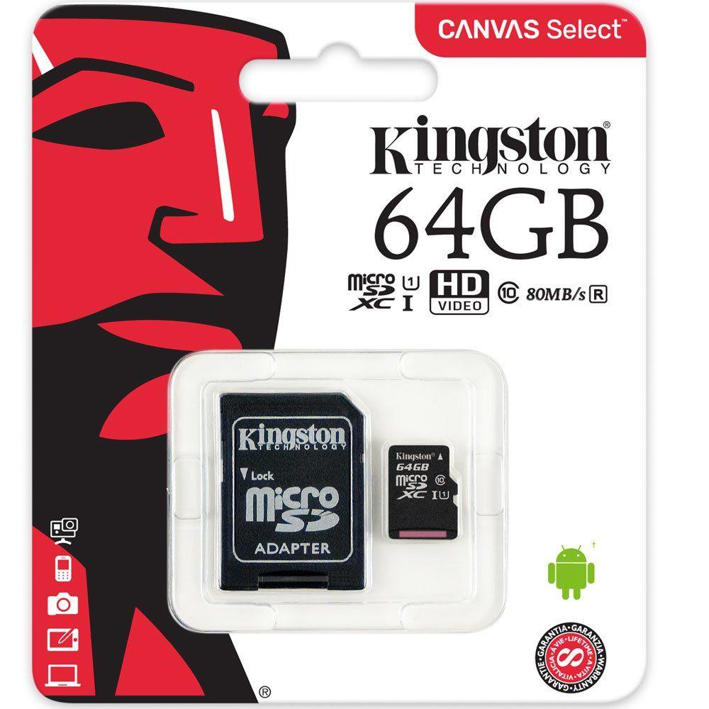 Cartão De Memória Microsd Kingston 64gb Classe 10 - Sdcs/64g