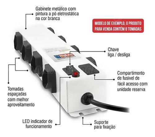 Filtro De Linha 8 Tomadas 10a Bivolt Metálico Cabo 5 Metros