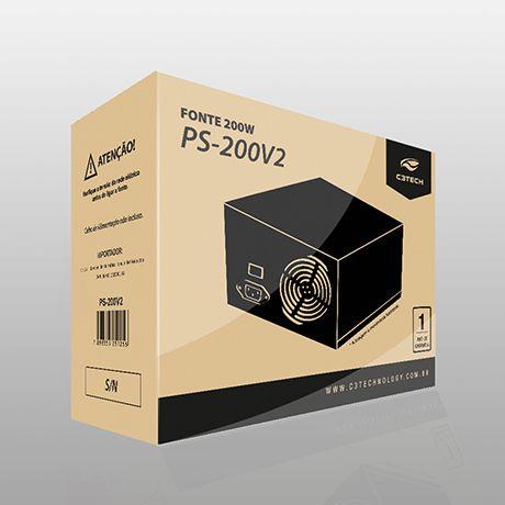 Fonte Atx 200w Real C3tech Ps-200v3 C/ Chave, Bivolt