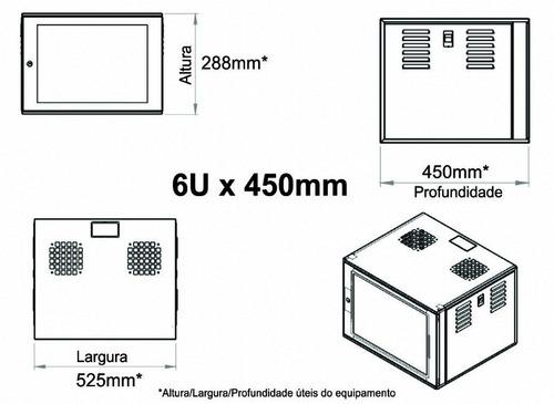 Rack 19pol X 06u X 450mm Fechado Parede Bege-esu Porta Vidro