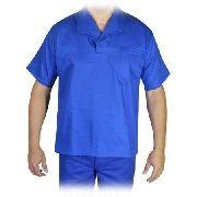 Camisa Profissional Azul Royal Em Brim Gola Italiana M/curta