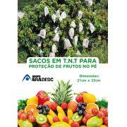 Sacos Em Tnt Para Proteção De Frutas No Pe 21 X 25cm Branco  com Amarril