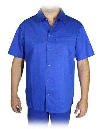 Camisa Profissional Azul Royal Em Brim M/curta Com Botões