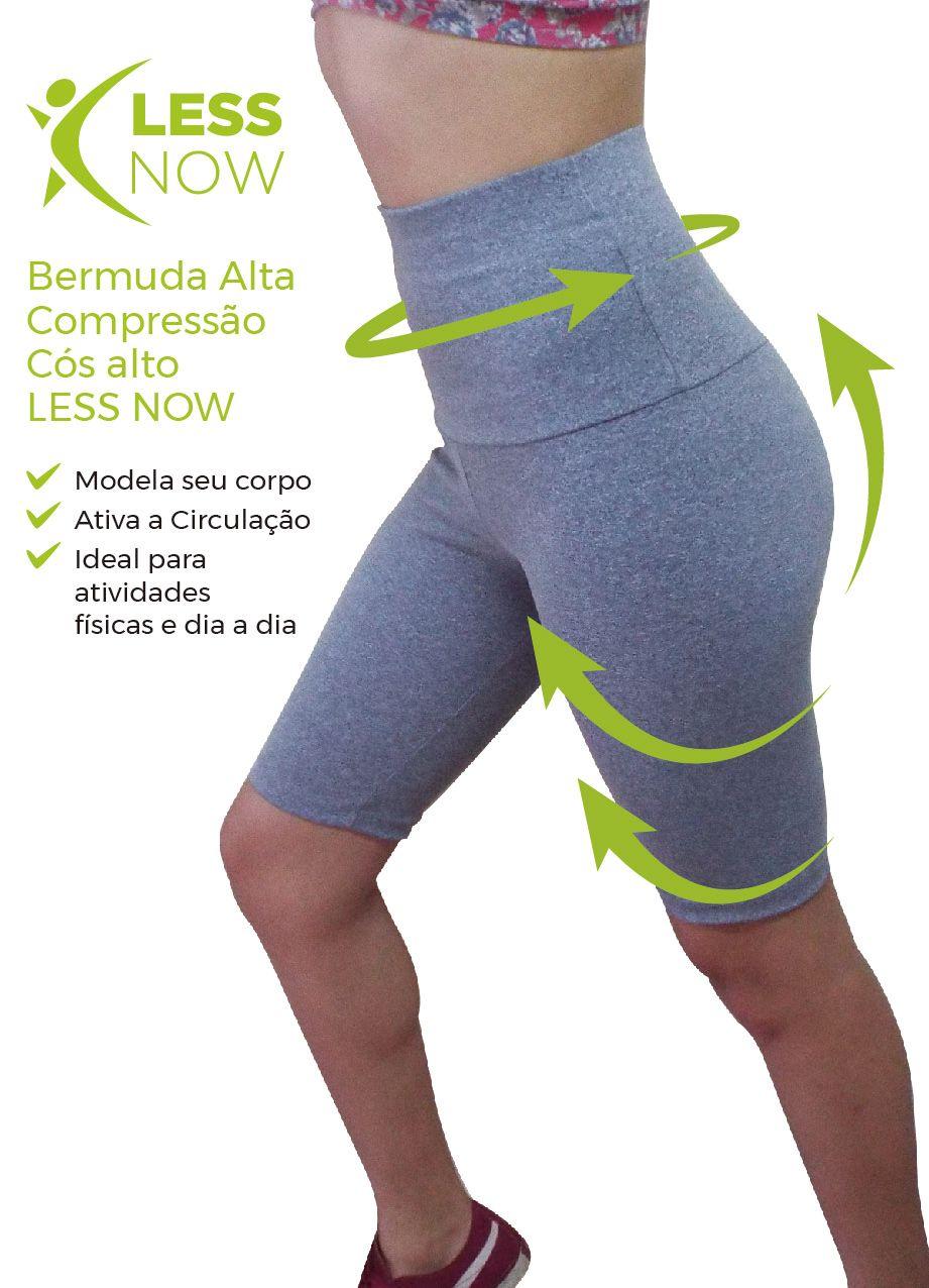 Bermuda  Alta Compressão Legging Less Now Cós Alto Power Air St CINZA