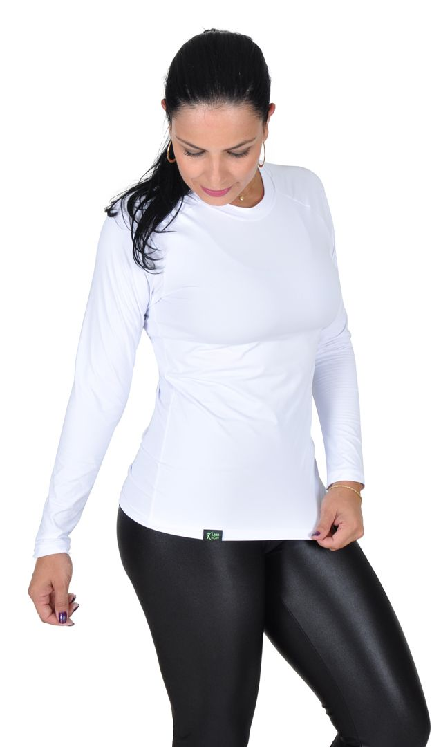 Camiseta Less Now Feminina Fator Proteção Solar 50 Uva/uvb Branca