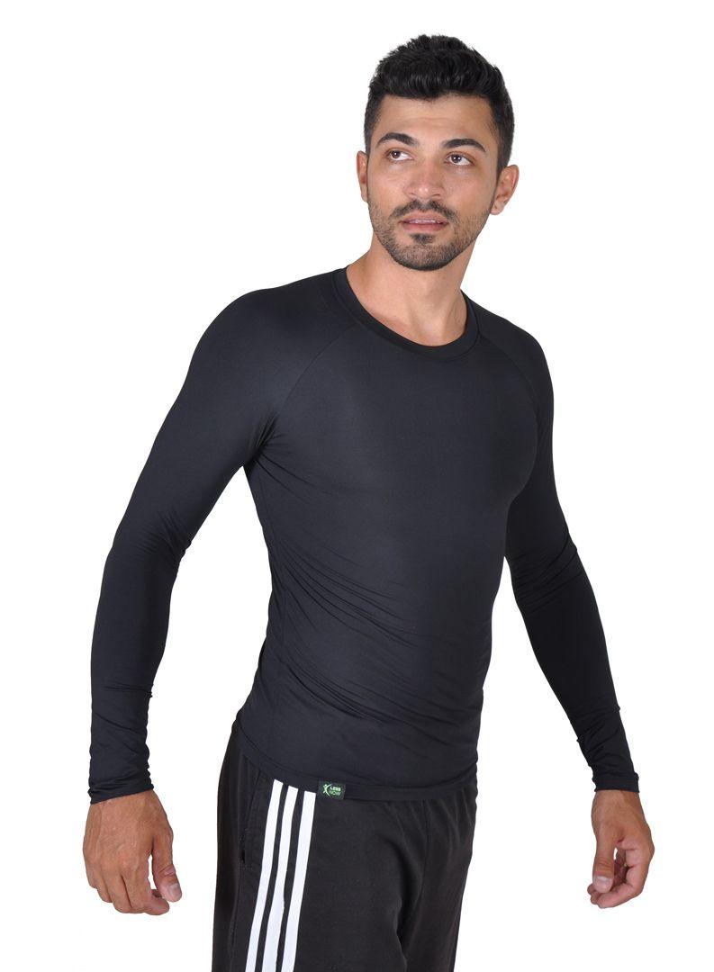 Camiseta Less Now Masculina Fator Proteção Solar 50 Uva/uvb Preta
