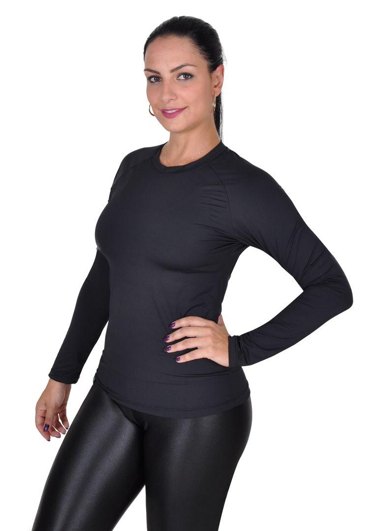 Camiseta Less Now Feminina Fator Proteção Solar 50 Uva/uvb PRETA