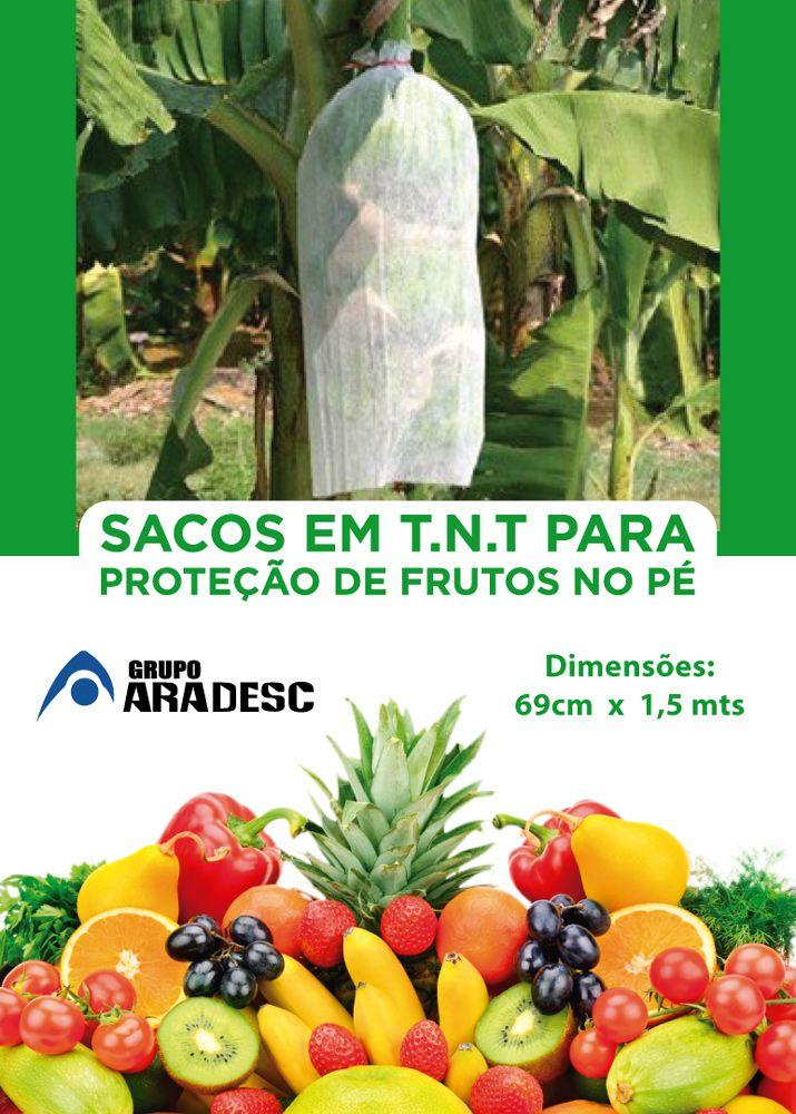 Saco De Proteção para Banana no Pé 1,50 mt x 0,69 cm em TNT Branco com Amarrilho