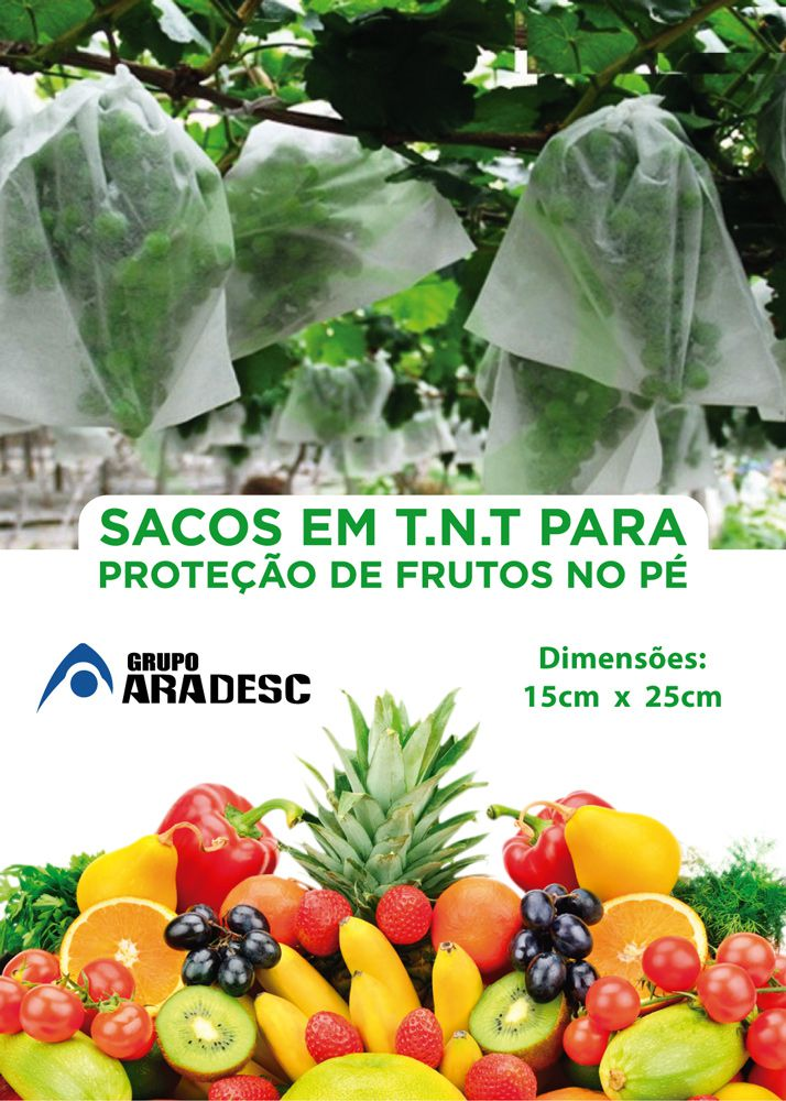 Sacos Em Tnt Para Proteção De Frutas No Pe 15 X 25cm Branco  com Amarrilho