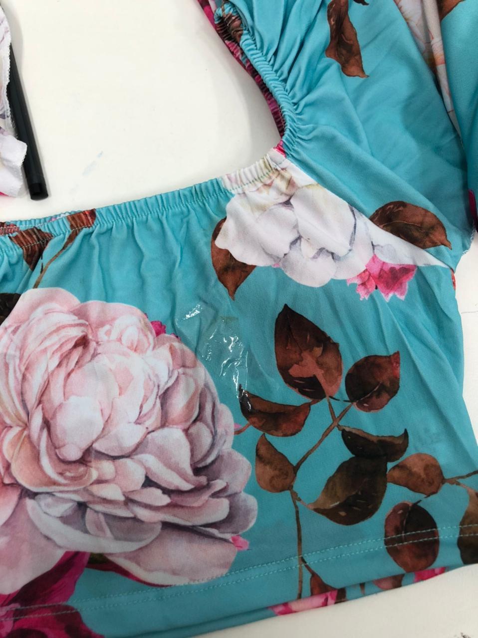 SALDO 493 Conjunto Liz Floral Azul Tam UNICO