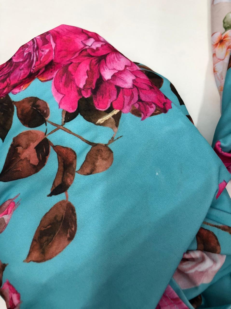 SALDO 495 Conjunto Liz Floral Azul Tam UNICO