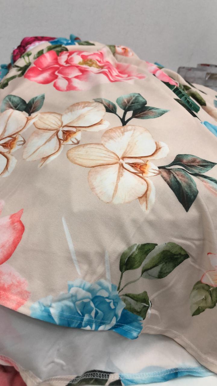 SALDO 505 Conjunto Liz Floral Rose Tam UNICO