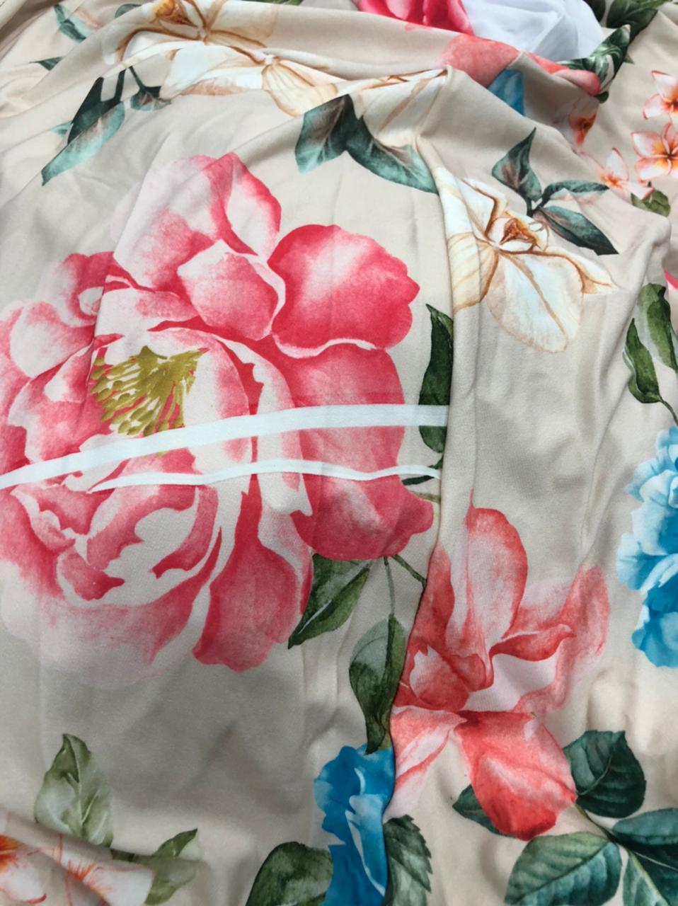SALDO 507 Conjunto Liz Floral Rose Tam UNICO