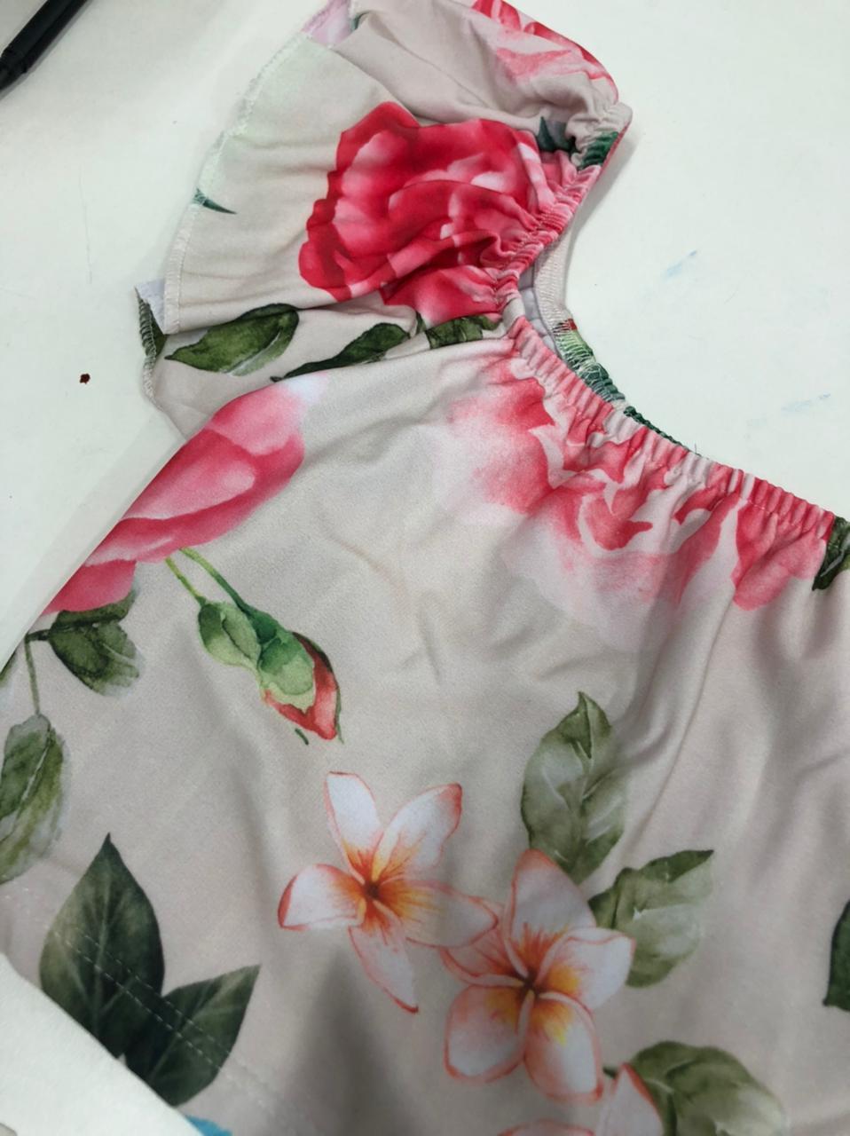 SALDO 527 Conjunto Liz Floral Nude Tam UNICO