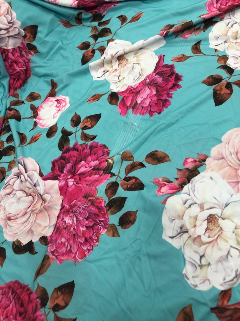 SALDO 617 Conjunto Liz Floral Azul Tam UNICO