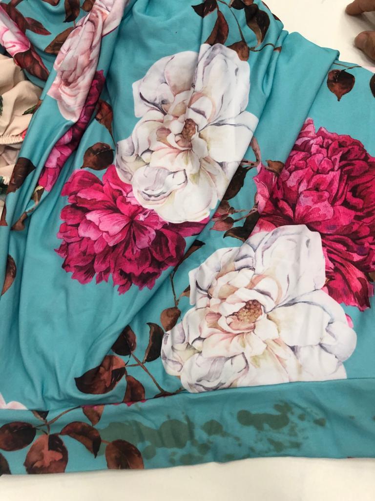 SALDO 621 Conjunto Liz Floral Azul Tam UNICO