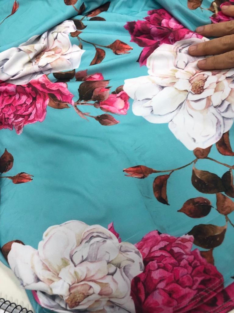 SALDO 627 Conjunto Liz Floral Azul Tam UNICO