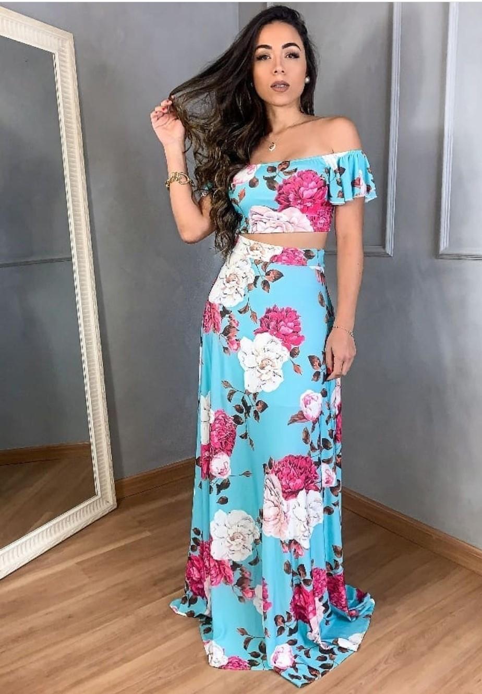 SALDO 631 Conjunto Liz Floral Azul Tam UNICO