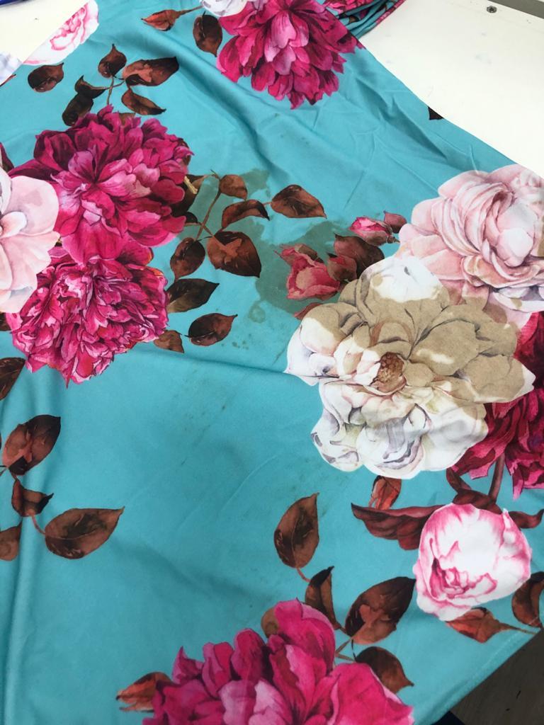 SALDO 633 Conjunto Liz Floral Azul Tam UNICO