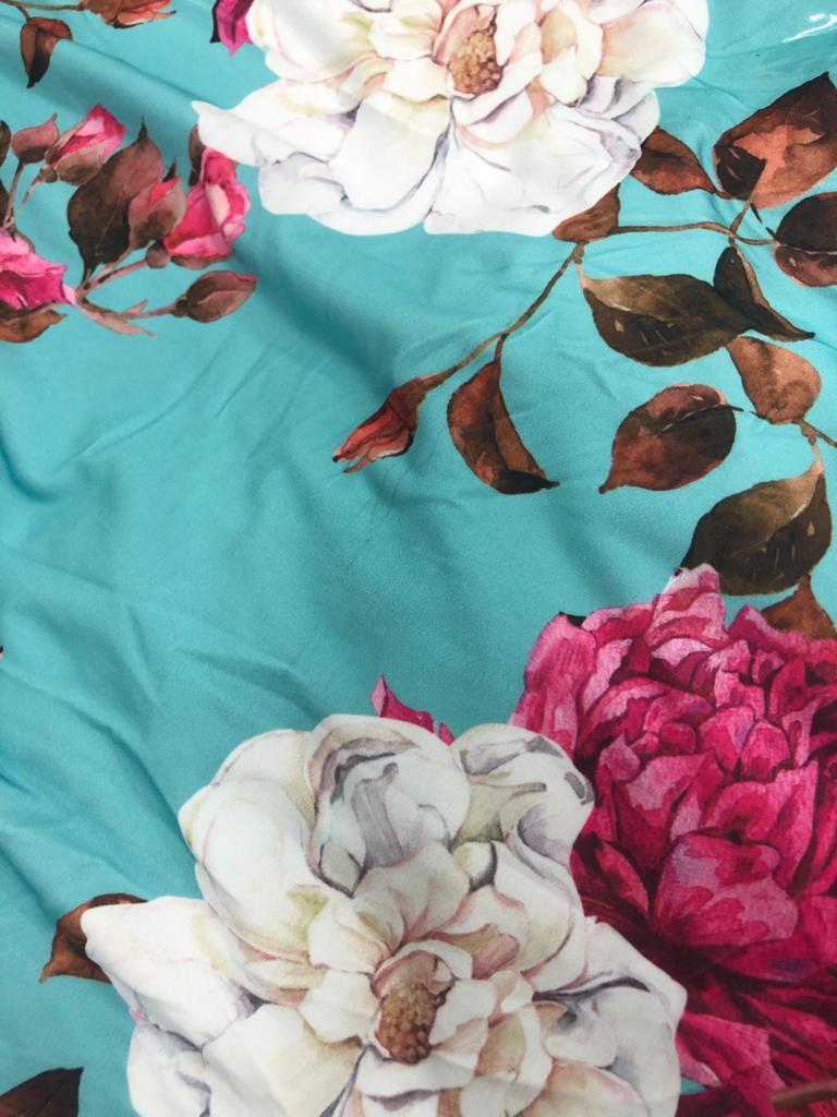 SALDO 635 Conjunto Liz Floral Azul Tam UNICO