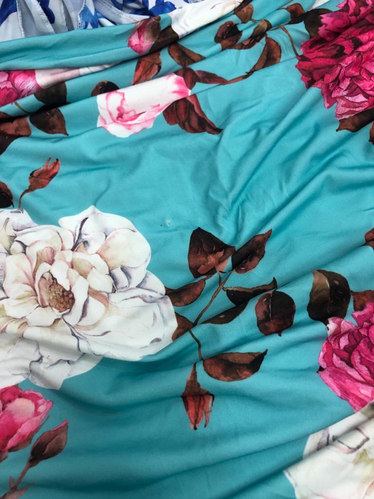 SALDO 639 Conjunto Liz Floral Azul Tam UNICO
