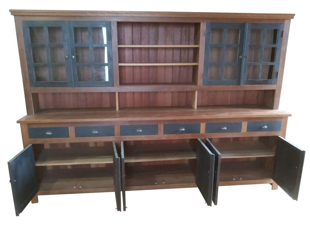 Armário de Demolição Modelo Cozinha Com Gavetas e Portas Ebanizadas - 3,00 X 0,50 X 2,10 - Em Madeira Selecionada