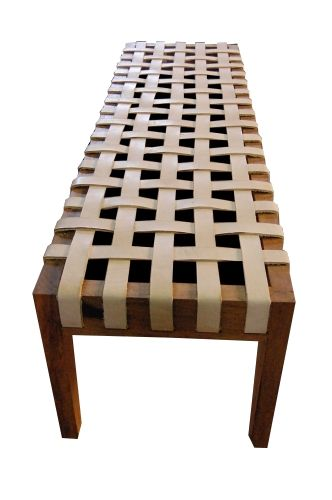Banco De Demolição Modelo Noronha - 1,60 X 45 X 45 - Assento em Couro - Em Madeira Selecionada