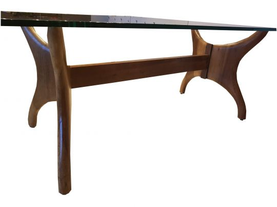 Base De Mesa de Jantar Retangular De Demolição Modelo Borboleta - Para Tampo de 2,20 X 1,10 - Em Madeira Selecionada