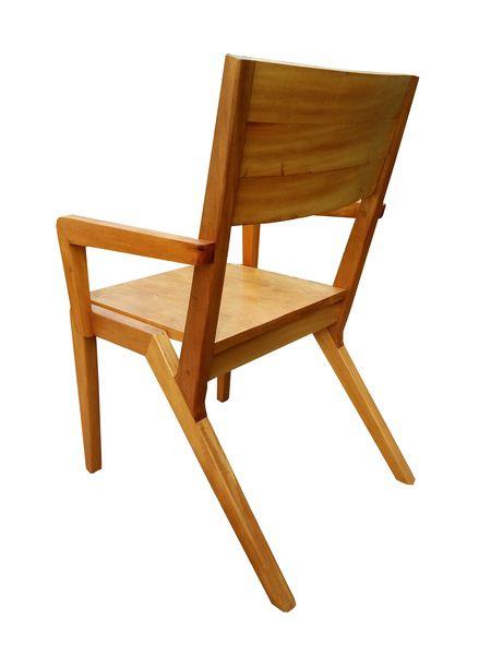 Cadeira de Demolição Modelo Colibri Com Braço - Assento Em Madeira - Em Madeira Selecionada