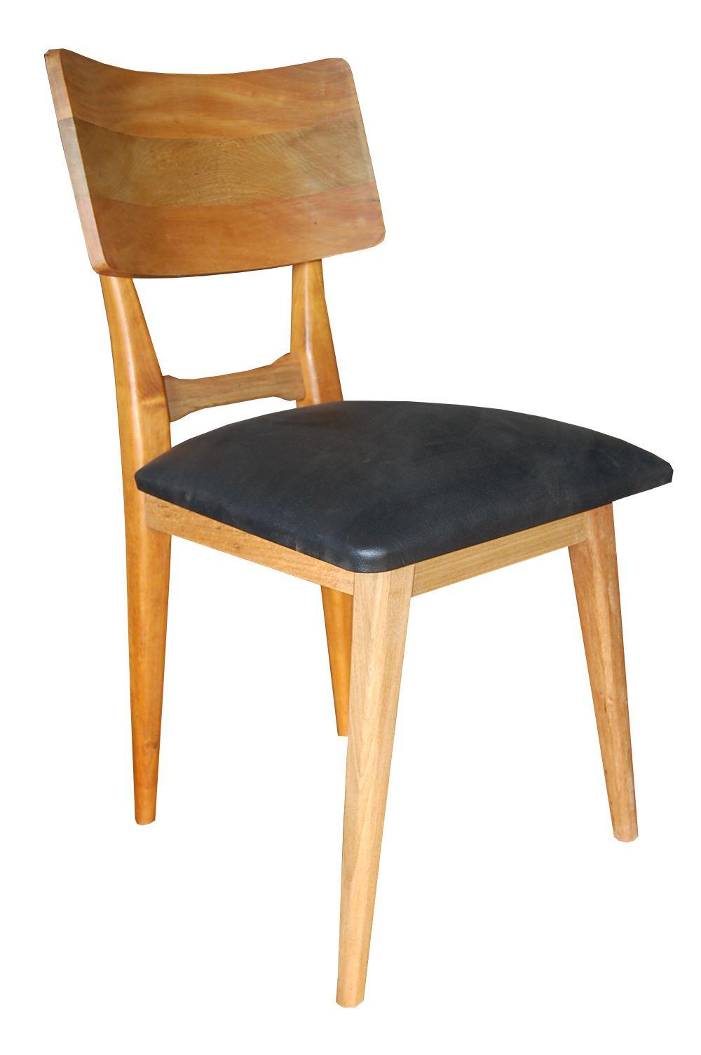 Cadeira De Demolição Modelo Copacabana - Assento Estofado Preto - Em Madeira Selecionada