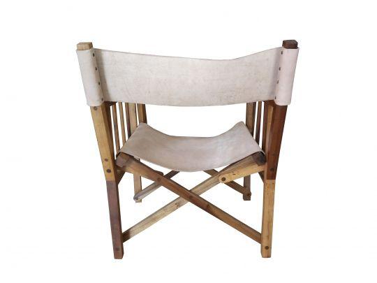 Cadeira De Demolição Modelo Diretor De Cinema - Em Couro - Dobrável - Em Madeira Selecionada