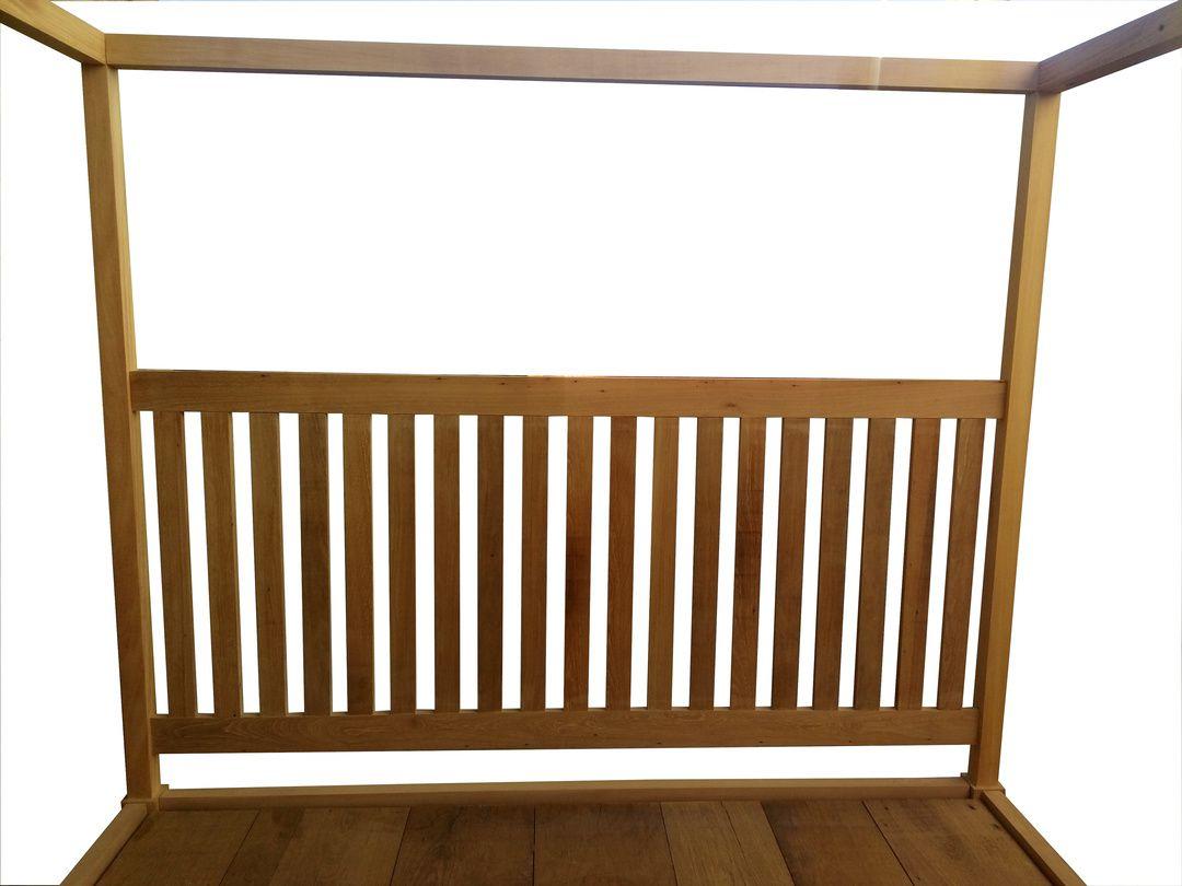 Cama Casal de Demolição Modelo Dossel - 2,06 X 1,66 X 0,40 - Em madeira Selecionada