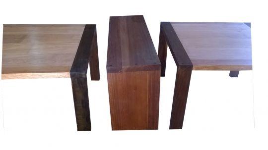 Conjunto De 02 Mesas De Jantar Modelo Parati E Aparador De Demolição Modelo Curitiba - 1,20 X 1,20 -  Em Madeira Selecionado
