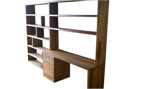 Escrivaninha De Demolição Com Estantes Modelo Biblioteca - 2,70 X 30 X 2,00 - Em Madeira Selecionada