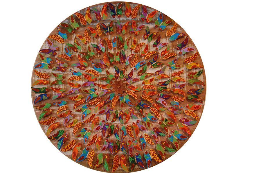 Mandala de Demolição Com Borboletas Coloridas Pintadas à Mão - 95 cm Diâmetro