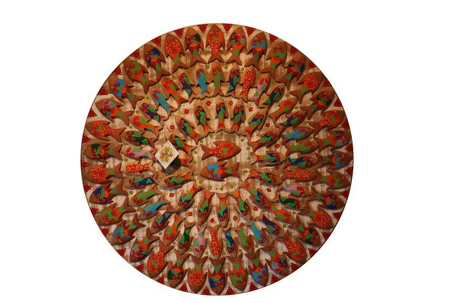 Mandala de Demolição Com Peixes Coloridos Pintados À Mão - 95 cm de diâmetro
