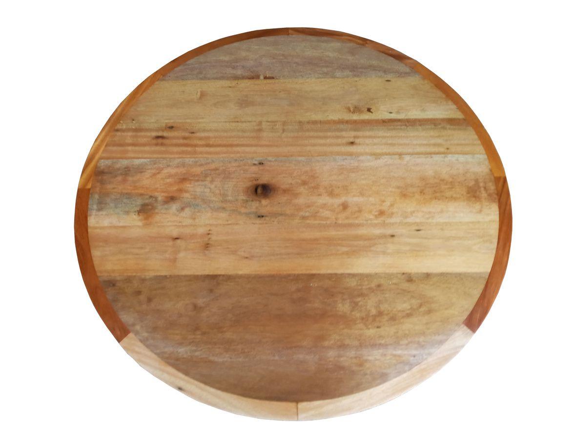 Mesa de Centro Redonda de Demolição Modelo Noronha - 1,20 Diâmetro X 0,30 - Em Madeira Selecionada