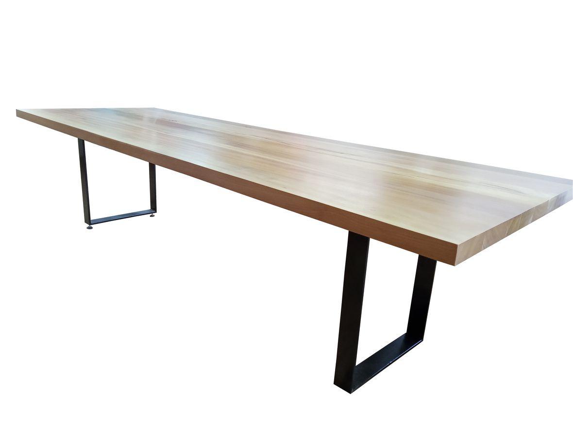 Mesa de Jantar de Demolição Com Pés Em Ferro Maciço Modelo Arpoador - 2,60 X 1,10 X 0,76 - Em Madeira Selecionada