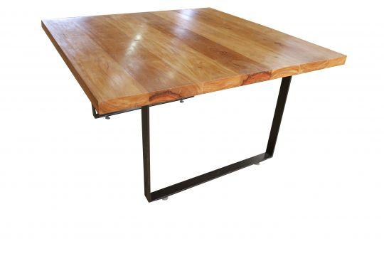 Mesa de Jantar Quadrada De Demolição Modelo Arpoador - 1,30 X 1,30 X 0,76 - Com Pés Em Ferro Maciço - Em Madeira Selecionada