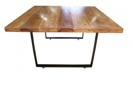 Mesa de Jantar Quadrada De Demolição Modelo Itaipava - 1,30 X 1,30 X 77 - Com Pés Em Ferro Maciço - Em Madeira Selecionada