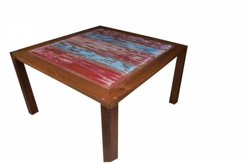 Mesa De Jantar Quadrada De Demolição Modelo Parati Rústica - 1,20 X 1,20 - com Restos de Tinta - Em Madeira Selecionada