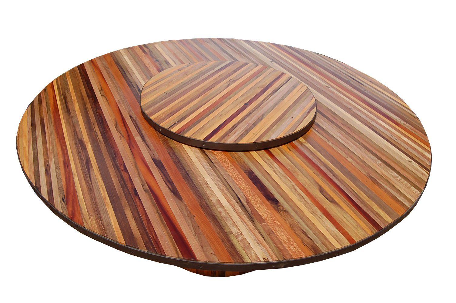 Mesa De Jantar Redonda De Demolição Modelo Búzios -  1,40 diâmetro - Com Prato Giratório - Em Madeira Selecionada